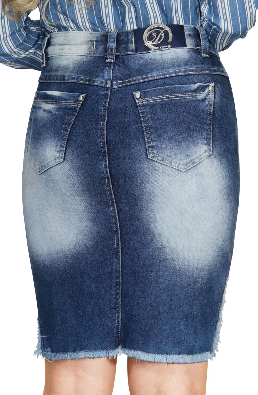 Saia Secretária Jeans Barra Desfiada e Recortes com Ralados Dyork Jeans