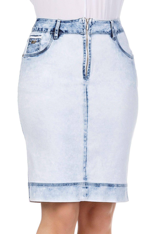 Saia Secretária Jeans Clara Zíper Aparente Frontal Dyork Jeans