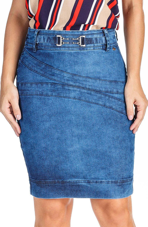 Saia Secretária Jeans com Cinto Fixado Dyork Jeans