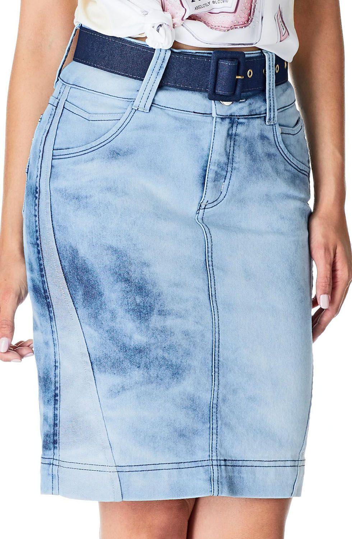 Saia Secretária Jeans com Recortes no Avesso