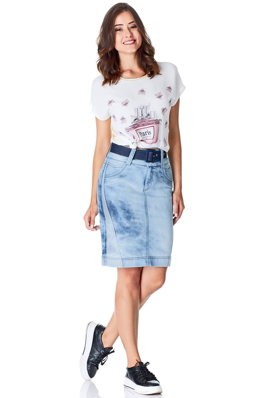 Saia Secretária Jeans com Recortes no Avesso Dyork Jeans