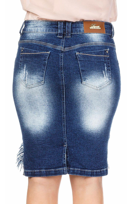 Saia Secretária Jeans com Renda na Barra Dyork Jeans