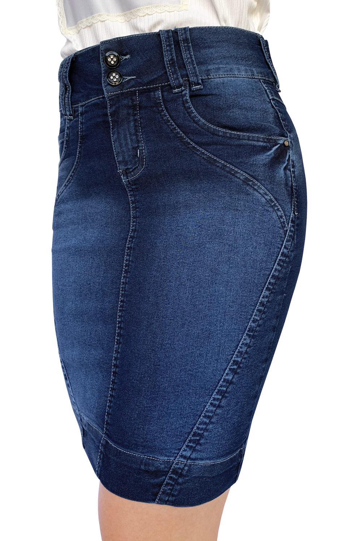 Saia Secretária Jeans Escura com Recortes Dyork Jeans