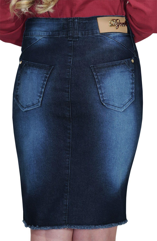 Saia Secretária Jeans Escura com Zíper Grande Aparente Barra Desfiada Dyork Jeans