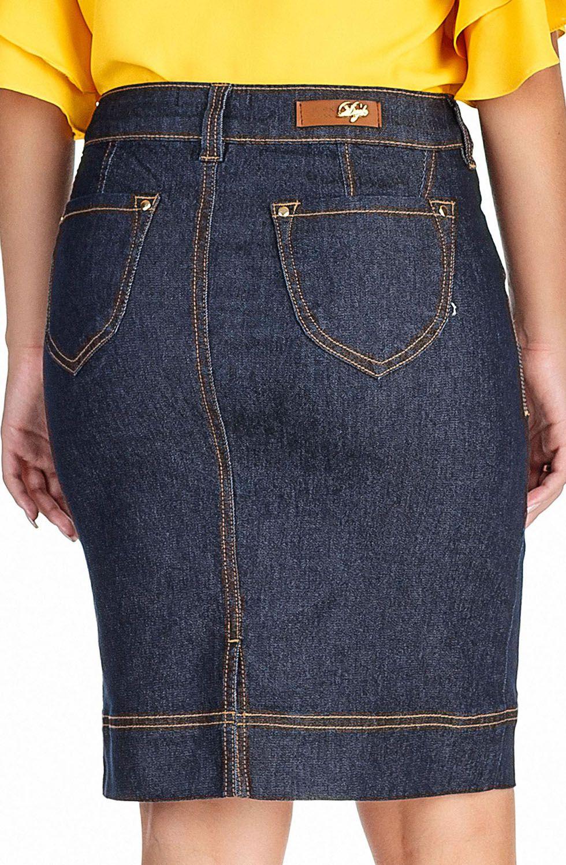 Saia Secretária Jeans Escuro com Costuras Contrastantes Dyork Jeans