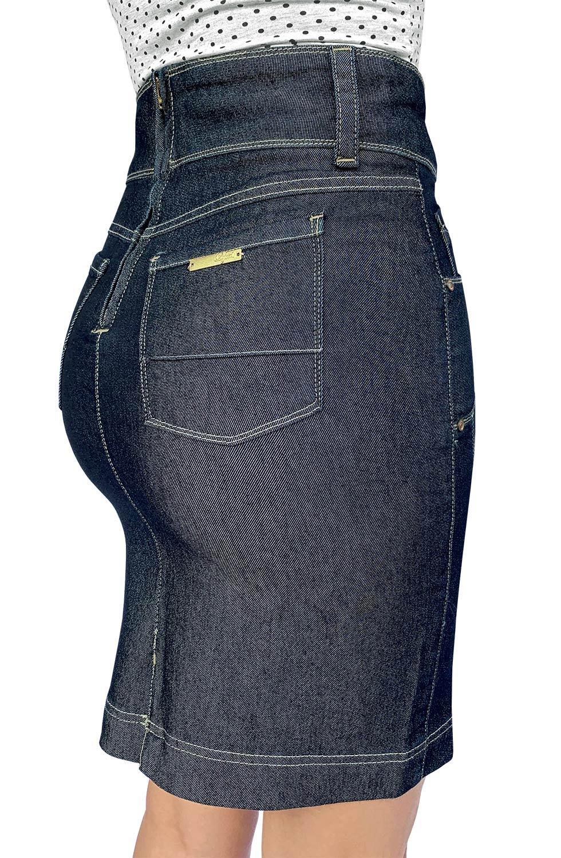 Saia Secretária Jeans Escuro Recortes nas Laterais Dyork Jeans