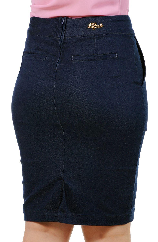 Saia Secretária Jeans Executiva Bolso Faca Dyork Jeans