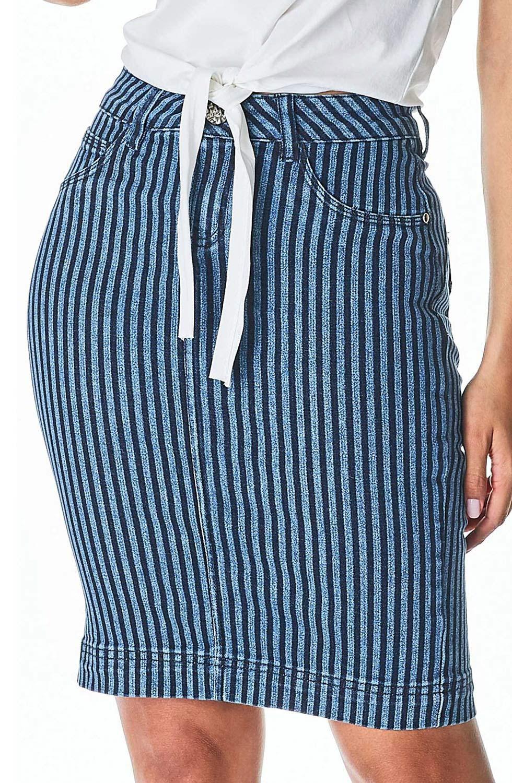 Saia Secretária Jeans Listrada Dyork Jeans