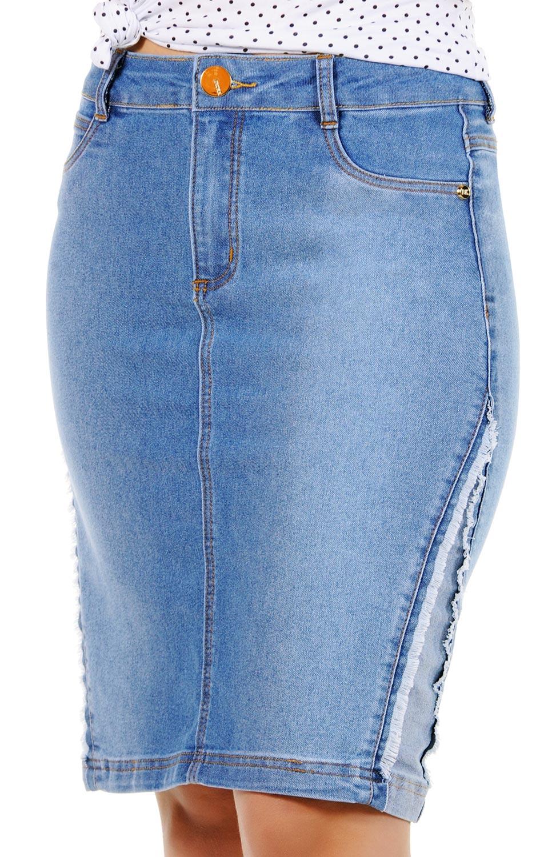 Saia Secretária Jeans Recorte Lateral Desfiada Dyork Jeans