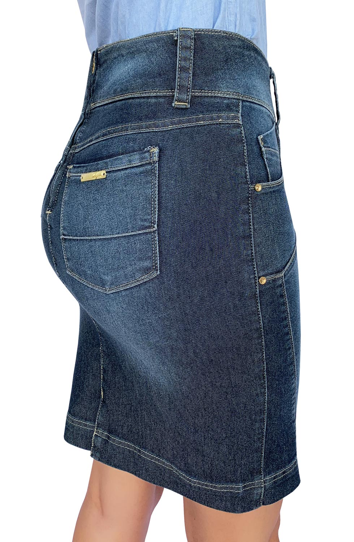 Saia Secretária Jeans Recortes nas Laterais Dyork Jeans