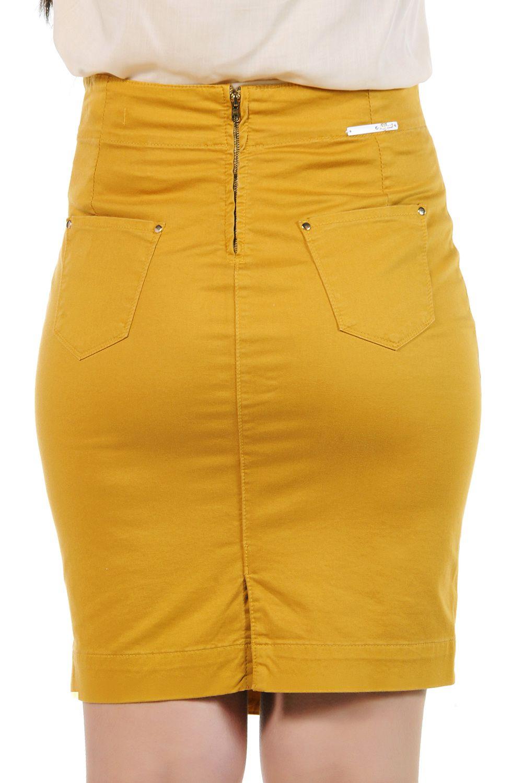 Saia Secretária Laranja com Botões e Galão Lateral Dyork Jeans