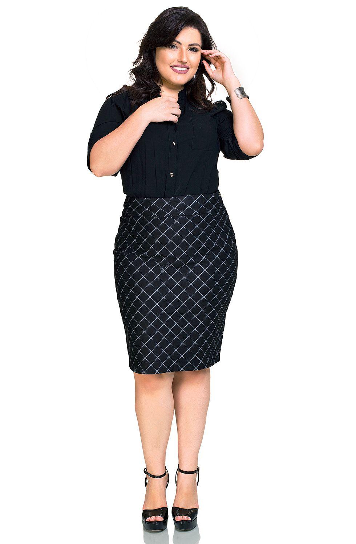 Saia Secretária Plus Size com Estampa Exclusiva  Dyork Jeans