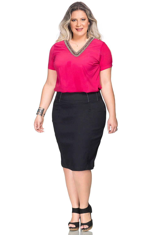 Saia Secretária Plus Size em Sarja Preto Dyork Jeans
