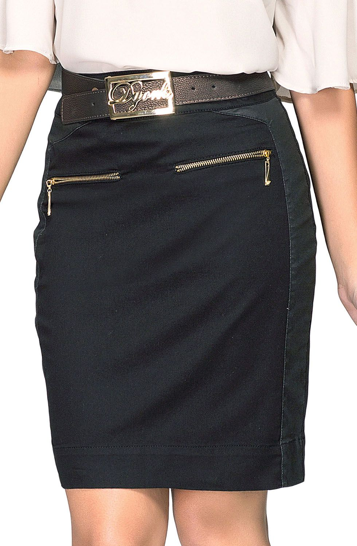 Saia Secretária Preta Detalhe Couro Eco e Zíperes Dyork Jeans