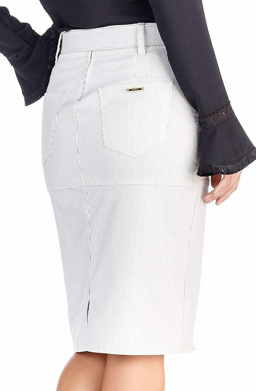 Saia Secretária Risca De Giz Dyork Jeans