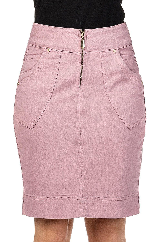 Saia Secretária Rosa Lápis Bolsos Sobrepostos Dyork Jeans