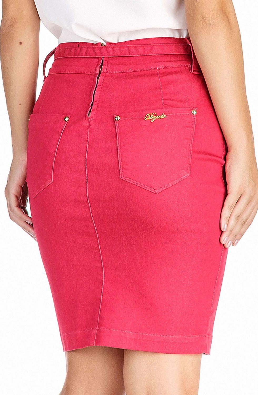 Saia Secretária Vermelha com Cinto e Tachinhas no Recorte Dyork Jeans