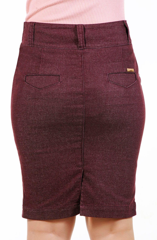Saia Secretária Vinho Executiva Bolso Faca Dyork Jeans