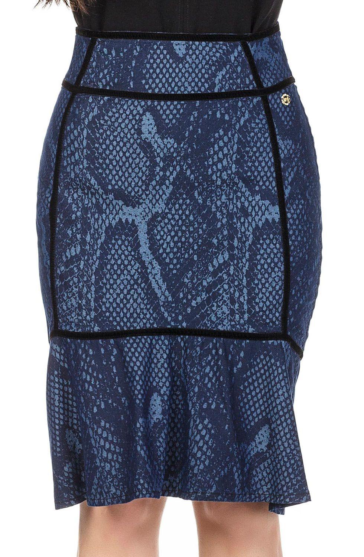 Saia Sino Azul Marinho Estampada Dyork Jeans