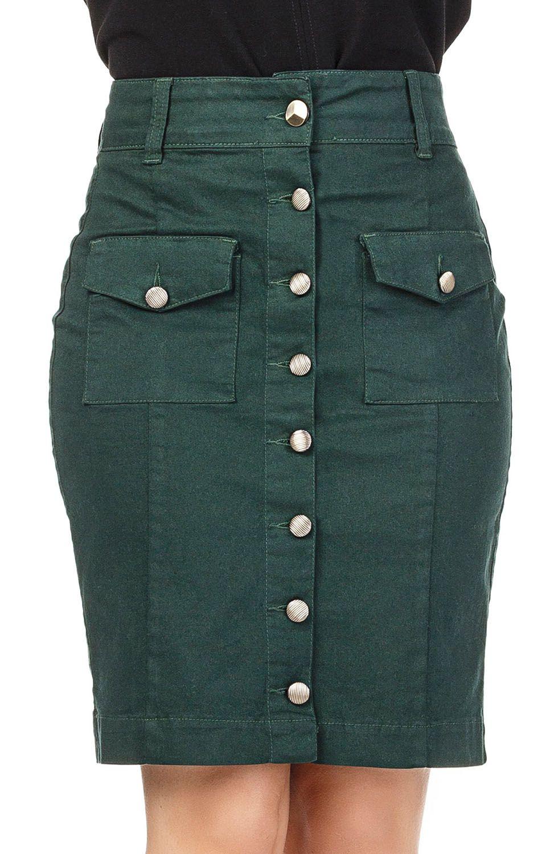 Saia Verde com Botões Frontais Dyork Jeans