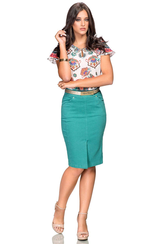 Saia Verde Esmeralda com Recortes e Prega na Barra da Frente Dyork Jeans