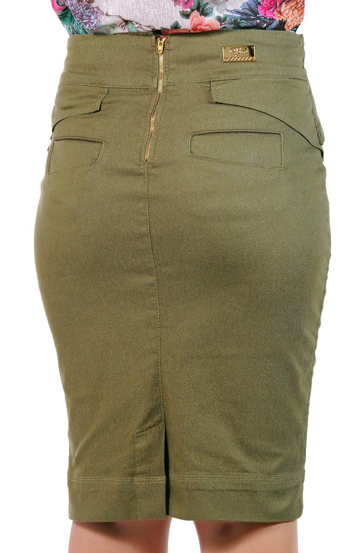 Saia Verde Lápis Midi com Cinto Largo Dyork Jeans