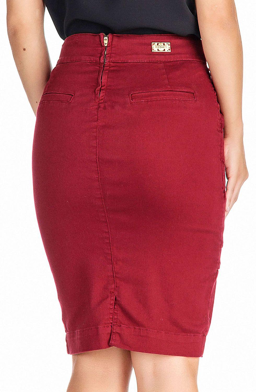 Saia Vermelha Midi Detalhe Pregas Frontais Dyork Jeans