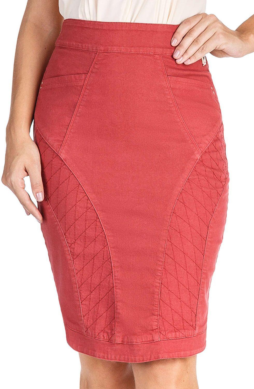 Saia Vermelha Recortes Frontais Com Bordados Dyork Jeans