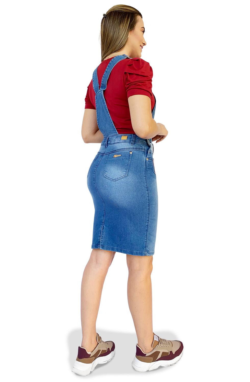 Salopete Jardineira Jeans com Galões Dyork Moda Evangélica