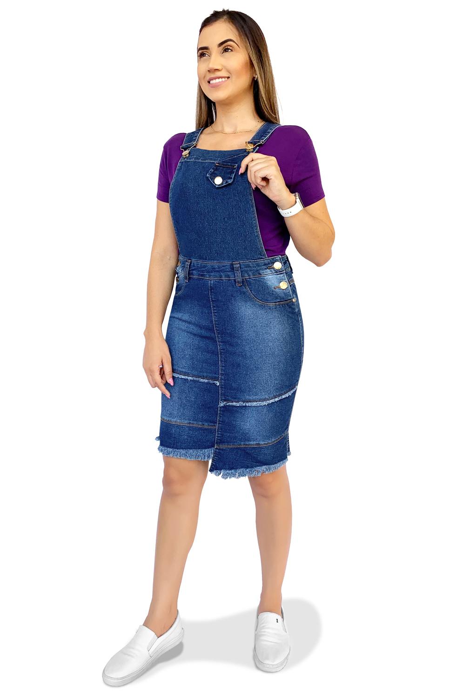 Salopete Jardineira Jeans Desfiada Dyork Moda Evangélica