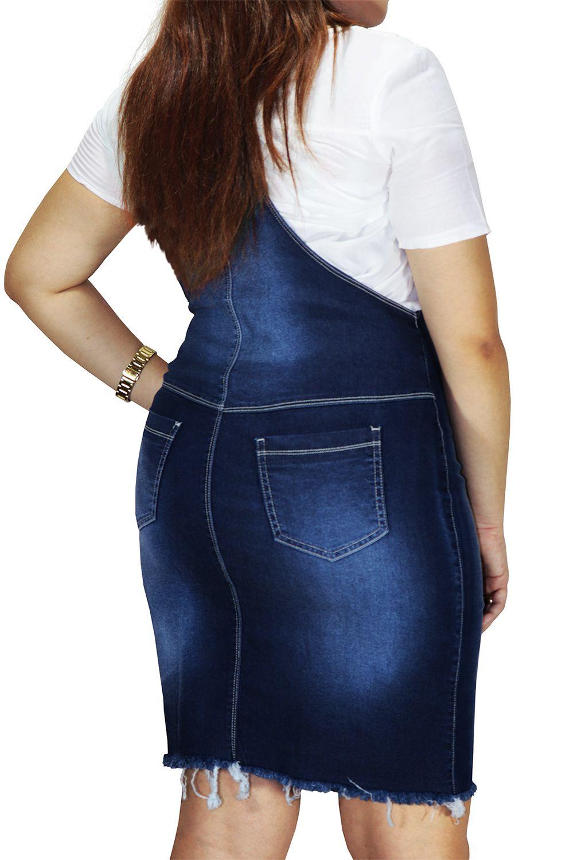 Salopete Jeans com Barra Desfiada e Botões Dyork Jeans