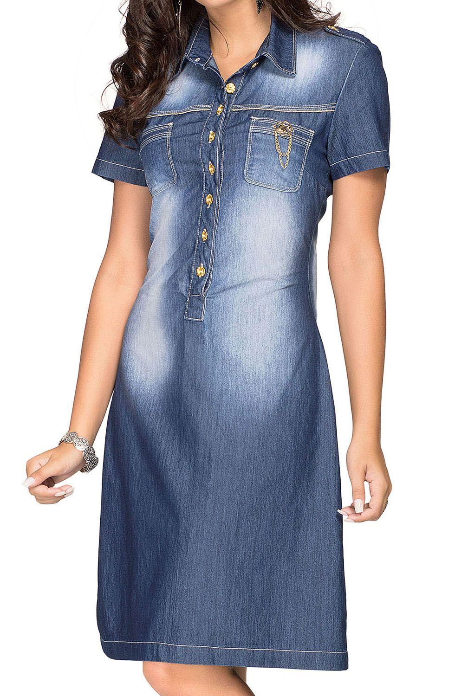 Vestido Jeans Botões Frontais Dyork Jeans