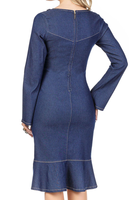 Vestido Jeans Casual Escuro com Bordado Exclusivo em Pedraria no Decote Dyork Jeans