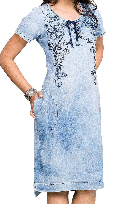 Vestido Jeans Claro com Amarração Sobre o Busto Dyork Jeans