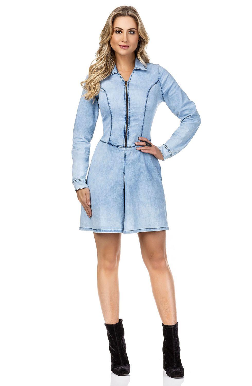 Vestido Jeans Claro Street com Zíper Frontal e Mangas Longas Dyork Jeans