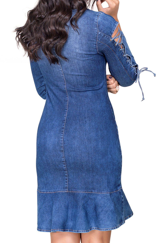 Vestido Jeans com Amarração e Barra Flare Dyork Jeans