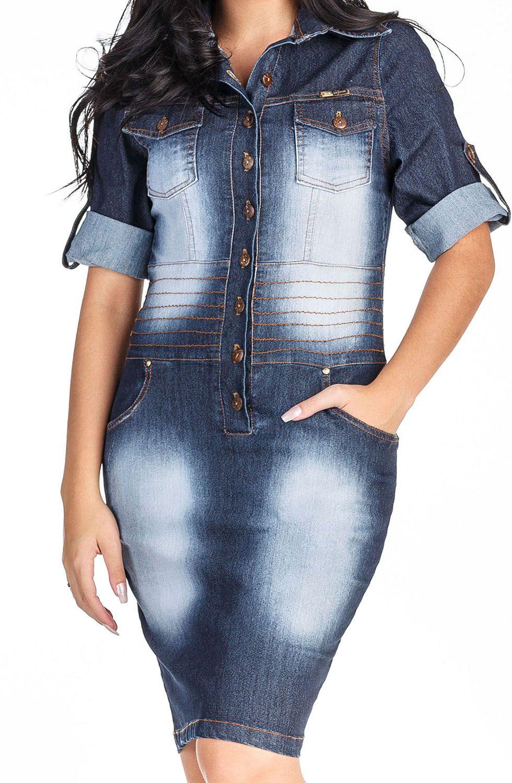 Vestido Jeans com Botões na Frente e Bolsos com Lapela Dyork Jeans