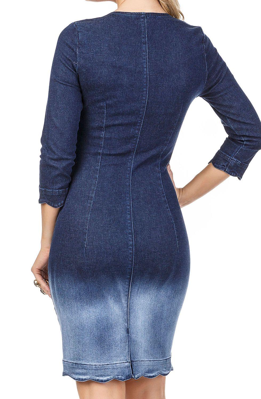 Vestido Jeans com Detalhe na Barra e Zíper Frontal Dyork Jeans