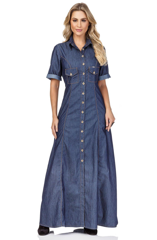 Vestido Longo Jeans com Fechamento de Botões Dyork Jeans