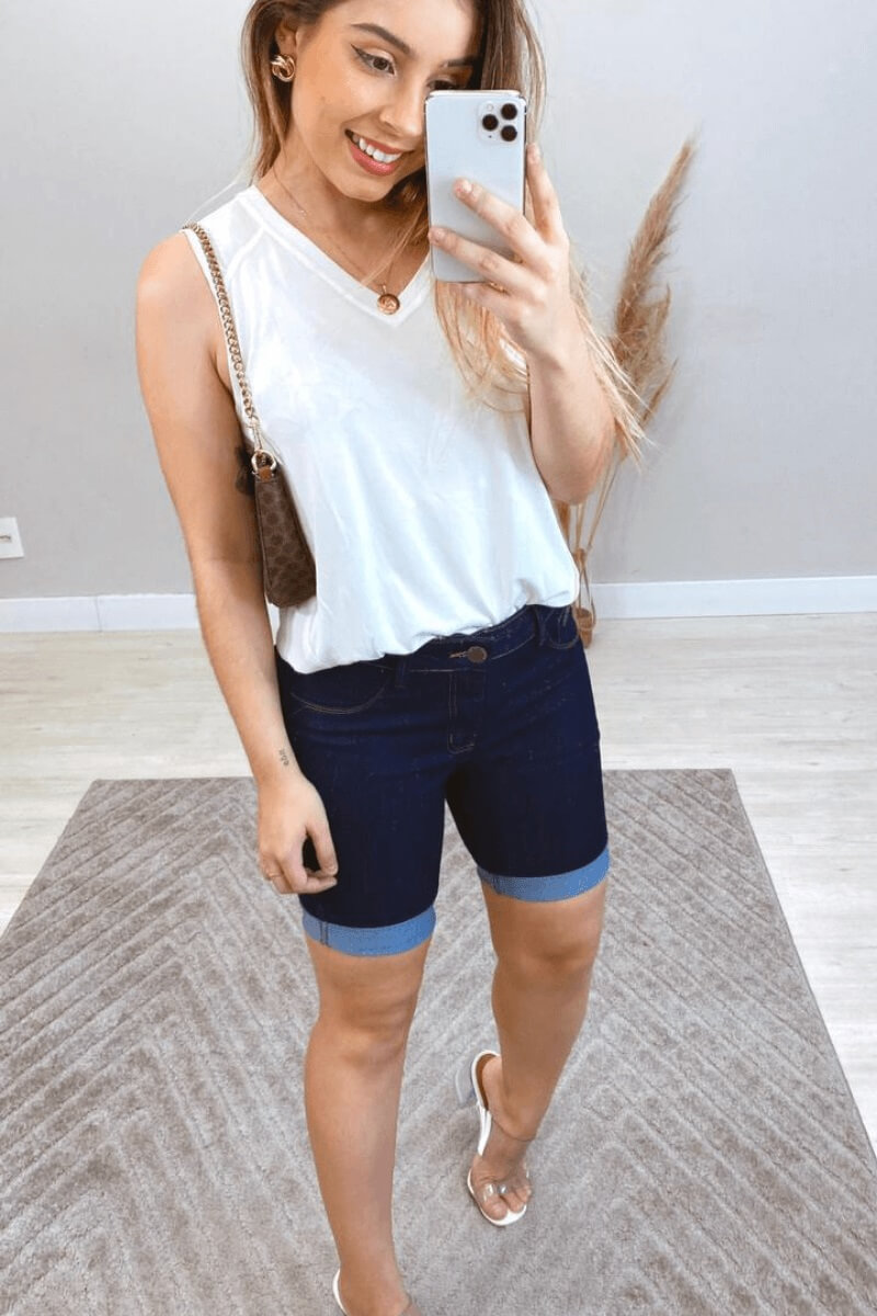Bermuda Feminina Jeans Cós Médio