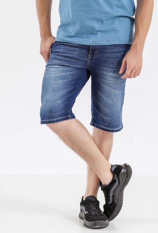 Bermuda Jeans Masculina Azul Escuro Delavê
