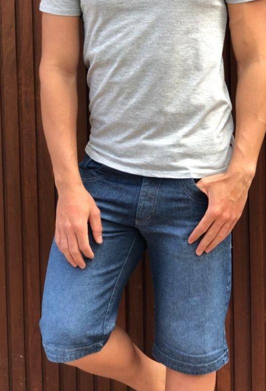 Bermuda Jeans Masculina Azul Escuro