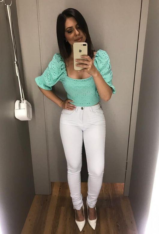 Calça Brim Feminina Branca Hot