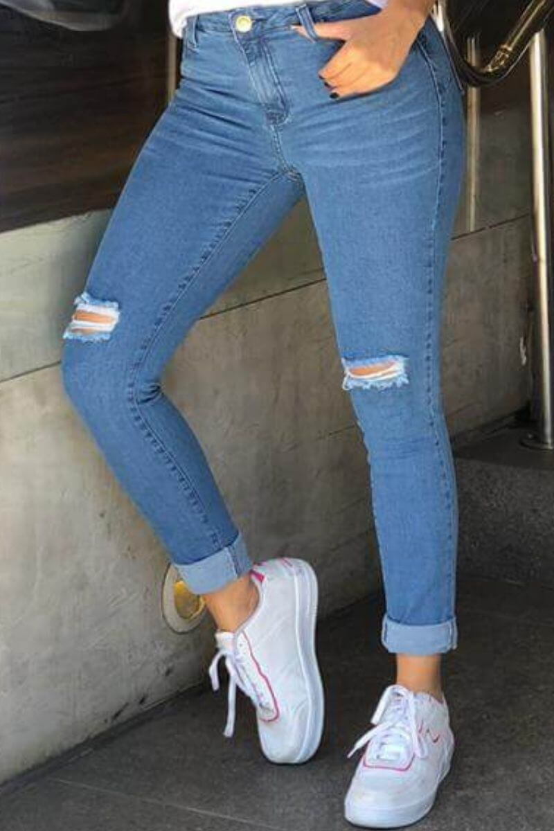 Calça Jeans Feminina Skinny Max 8 Azul Ceu
