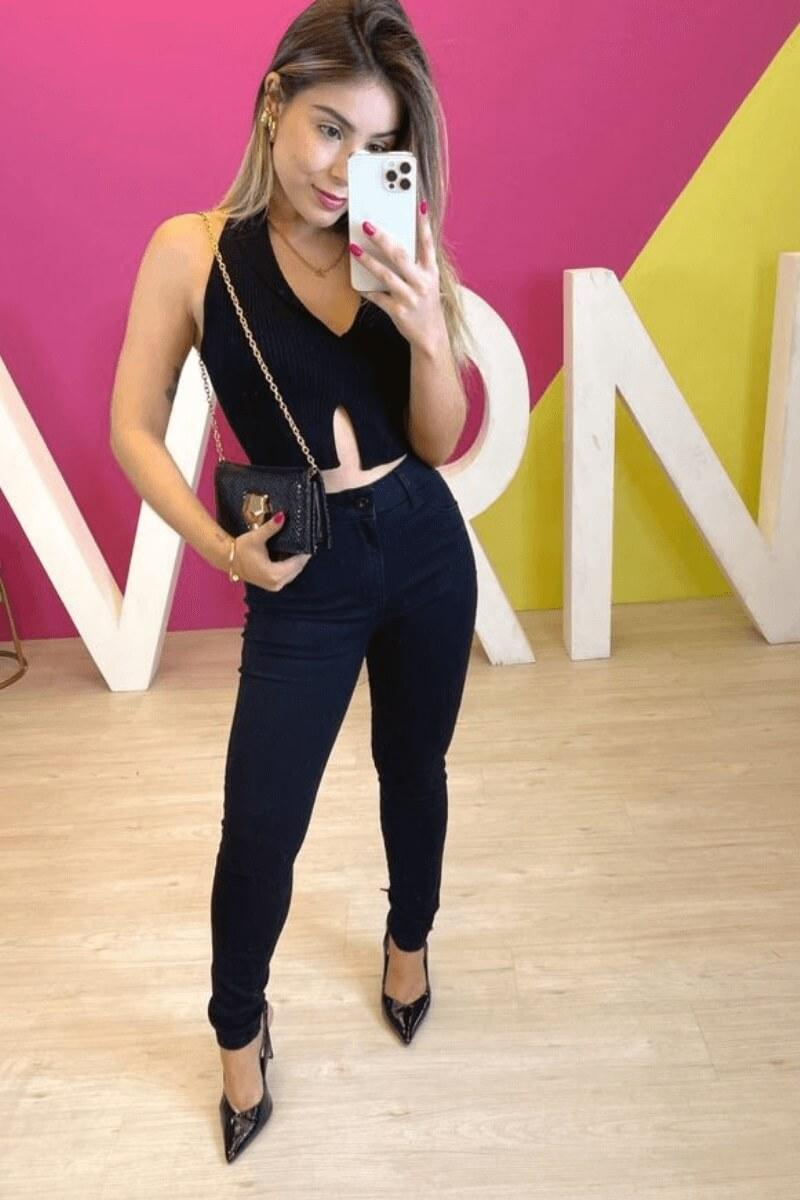 Calça Jeans Feminina Cos Alto Preta
