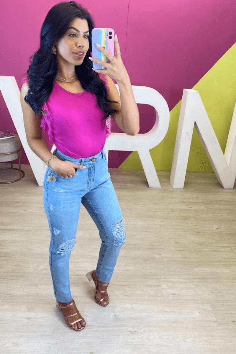Calça Jeans Feminina Mom Bruna Leal