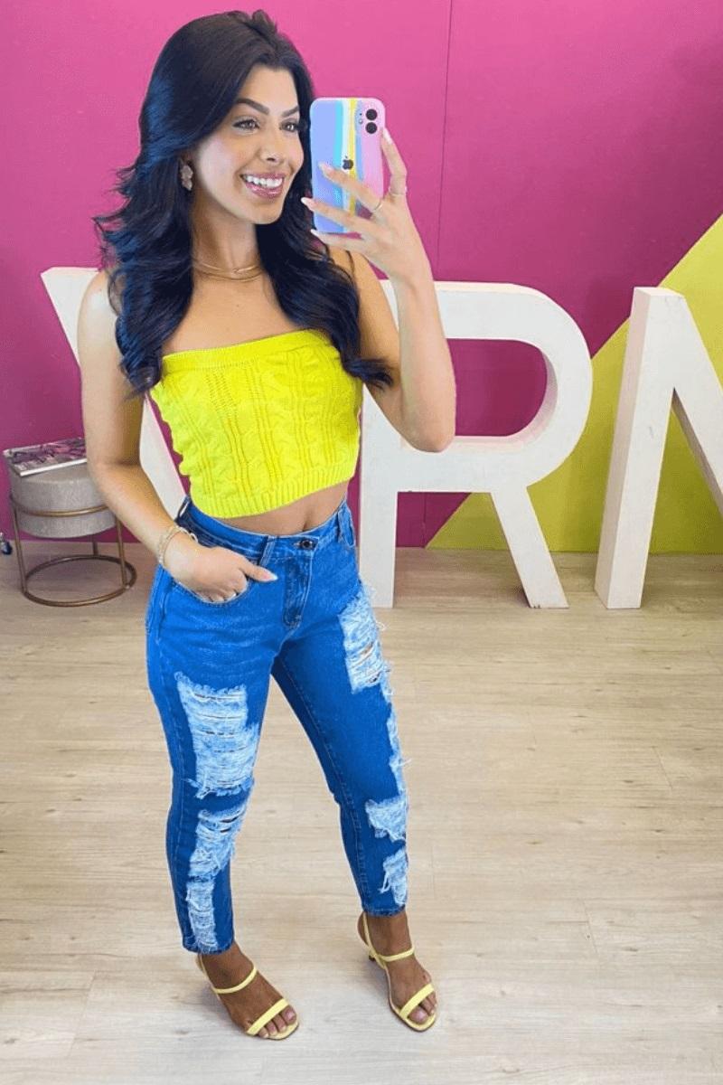 Calça Jeans Feminina Mom  Nathalia Martins