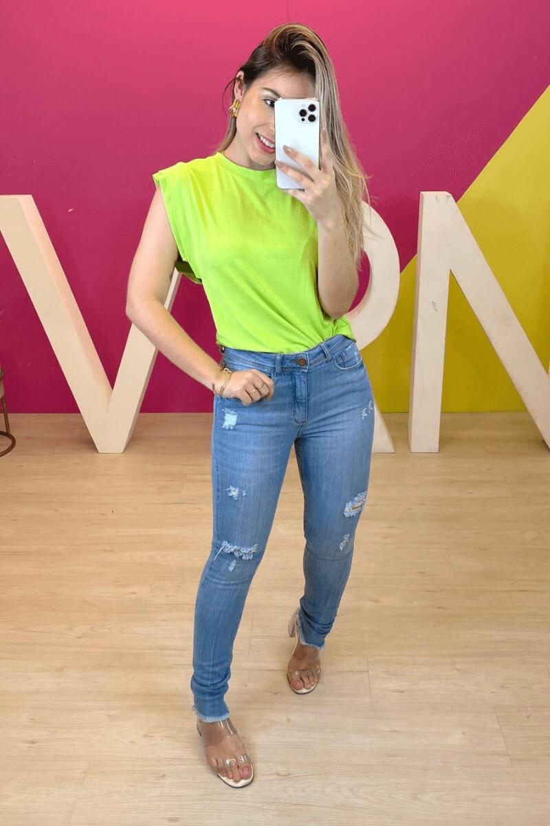 Calça Jeans Feminina Skinny C/Rasgo
