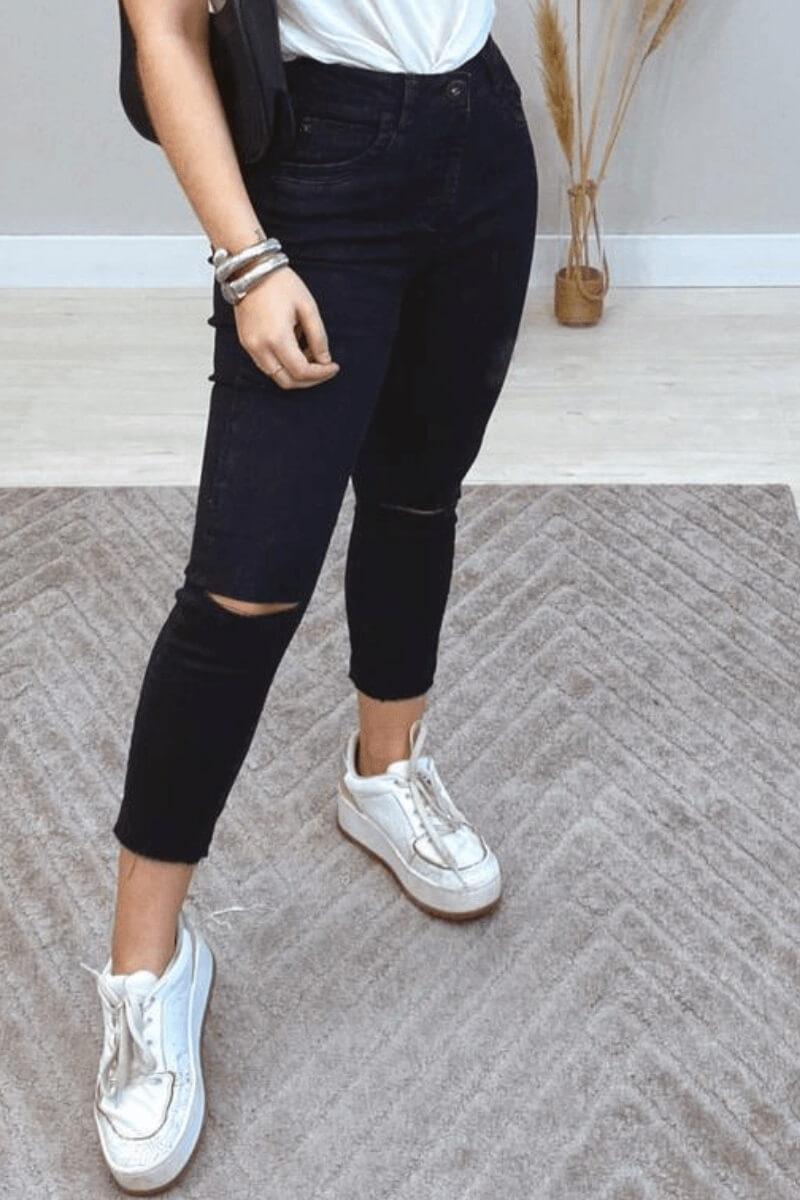 Calça Jeans Feminina Skinny Cós Alto Cropped