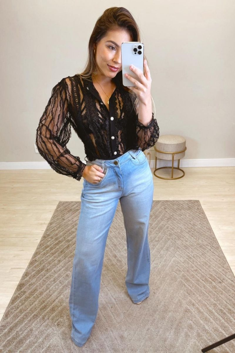Calça Jeans Feminina Wide Leg Delavê